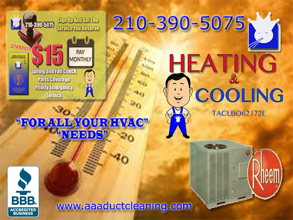 Ac Repair at affordable prices for San Antonio residents. AAA Duct Cleaning Heating and AC Repair San Antonio provides services such as AC Installation and Design, Furnace Repair, Hvac Maintenance commercial and Residential for a low monthly rate San Antonio call our offices and speak to a certified ac tech today. When outdoor ambient temperatures reach 90° and above air-conditioning and heating systems San Antonio begin to break down. San Antonio don't be left without heating or cooling contact the guys down at AAA Duct Cleaning and have your AC repair or annual system checks done by the pros call us today at 210–390–5075.