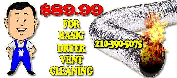 AAA Duct Cleaning service fee is only $89.99 for basic dryer vent cleaning servicing the San Antonio Texas metro area. Dryer vent cleaning is and should be a normal part of home maintenance San Antonio and is vital for proper ventilation and disposal of lint produced from the drying process of your clothing San Antonio. Your dryer vent may exit out the side of your home or through the roof depending on the structure of your home. In either case,AAA Duct Cleaning provides a qualified technician that will properly test and clean your dryer vent San Antonio. All of our dryer vent cleaning services San Antonio include a six month warranty on all dryer vent cleaning and repairs